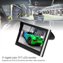 5 Inch Car TFT LCD Monitor  800*480 16:9 Screen 2 Way Video Input For Rear View Backup Reverse Camera DVD VCD New