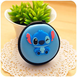 Cartoon Portable Mini Round Cute Zipper Headphone Case Earbuds Pouch box PU Silicone Earphone Storage Bag USB Cable Organizer