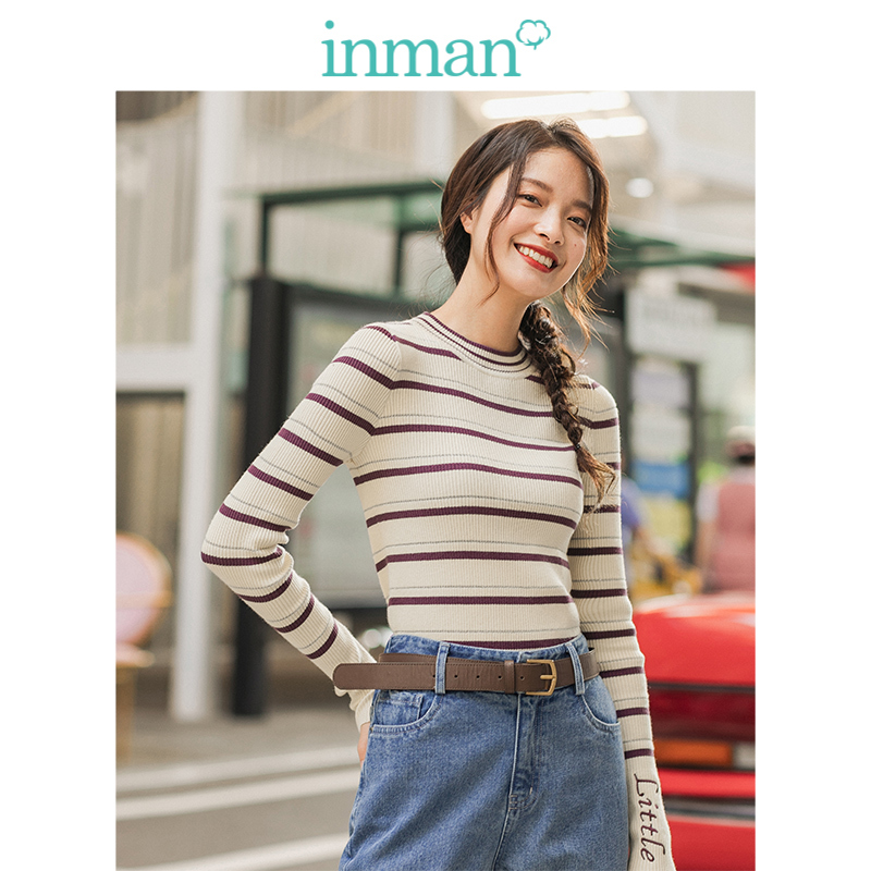 INMAN 2019 Winter New Arrival Little O-neck Striped Slim Minimalism All Matched Women Knitted Pullover