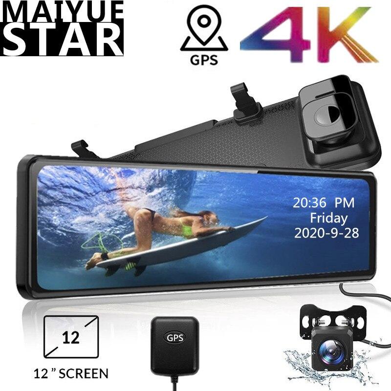 12 дюймовый видеорегистратор зеркало заднего вида с разрешением 4K 2160P * 1080P Touch Экран регистратор Sony IMX415 объектив GPS ночного видения трекер Кам...