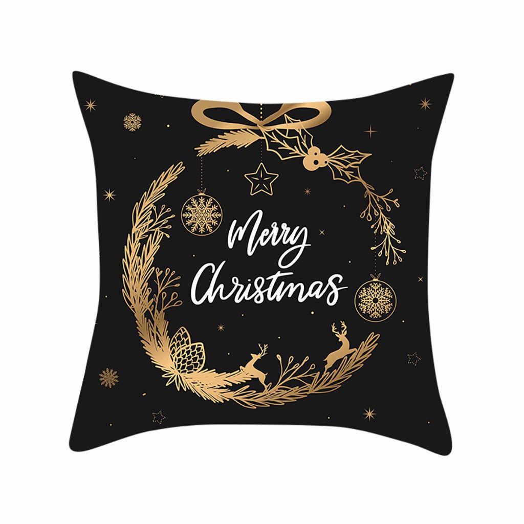 Рождественский Золотой Лось подарок печати персик замша Наволочка Чехол для диванных подушек, наволочки для подушек размером 45*45 см Подушка Чехол Рождество дома декоративные 2020