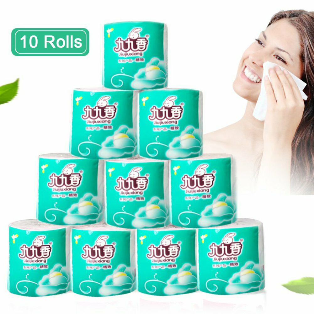 10 Rolls Living Room 4 Layers Wood Pulp No Fragrance Cleansing Tool Office School Facial Napkin Toilet Paper Soft Skin-friendly