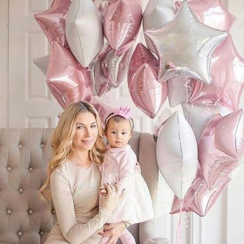 12PCS Baby Shower <font><b>18</b></font> inch Pink White Star Helium Foil Balloons Girls <font><b>Happy</b></font> <font><b>Birthday</b></font> Party Supplies 1st Party Decoration Air Ball image