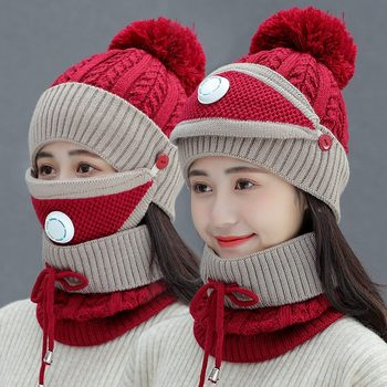New Windproof Beanies Hat Women Warm Knit Hats Scarf Sets  Female Winter Padded Mask Neck Protector 3 PC Set Cycling Wool Caps 1