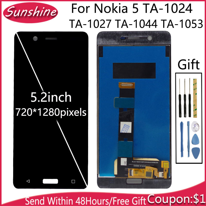 """LCD 5.2"""" For Nokia 5 TA-1024 TA-1027 TA-1044 TA-1053 LCD Display With Touch Screen Sensor Complete Assembly"""