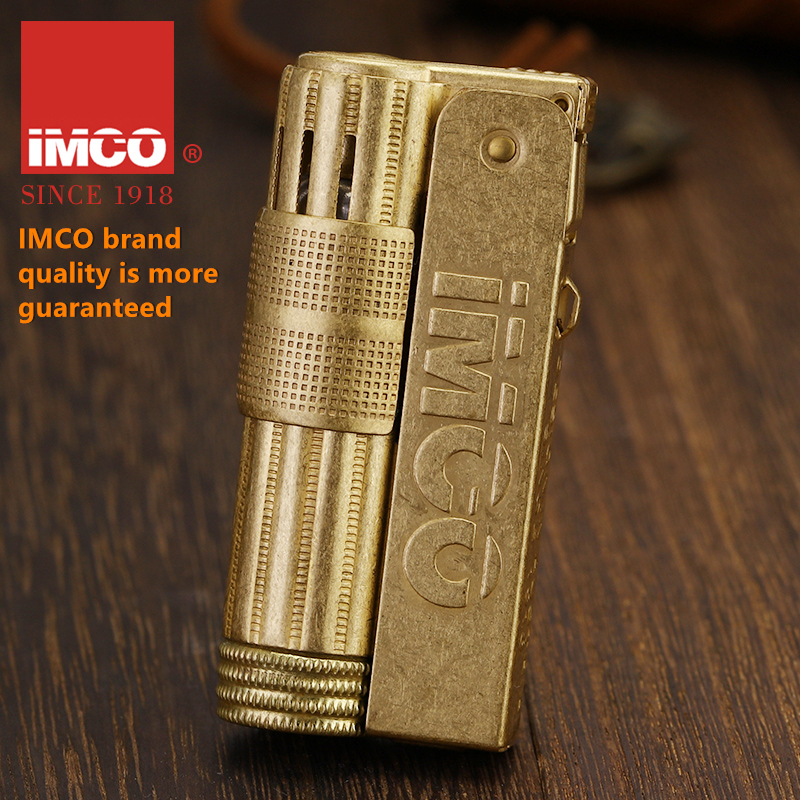 IMCO Classic Copper Lighter Gasonlion Vintage Style Oil Petrol Refillable Flint Ignition Grinding Wheels Fire Lighters OL007