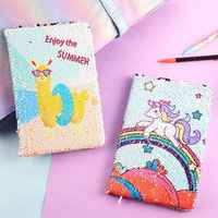 Cute Unicorn Diary Notebook A5 Journal Kawaii Cactus Agenda Planner Orgainzer Sequin Note Book Line School Wonderful Handbook