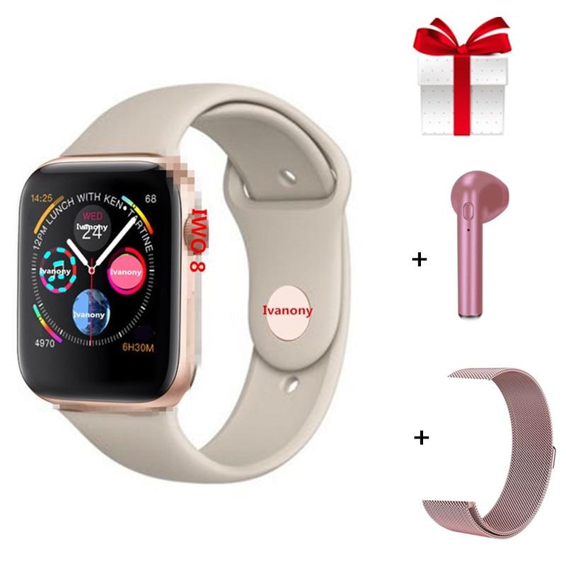 IWO 8+Strap+Earphone/Set Smartwatch Women Men Fitness Tracker Bluetooth Smart Wtach for IOS Android ECG Heart Rate Monitor Clock