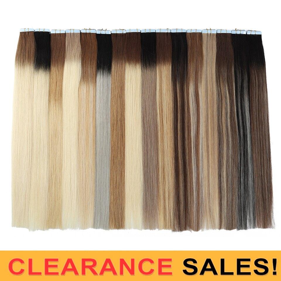 MRSHAIR 20 дюйм(ов) ленты в расширениях Ombre 20 штук non-реми выметания человеческие волосы прямые Ombre кожи утка волос