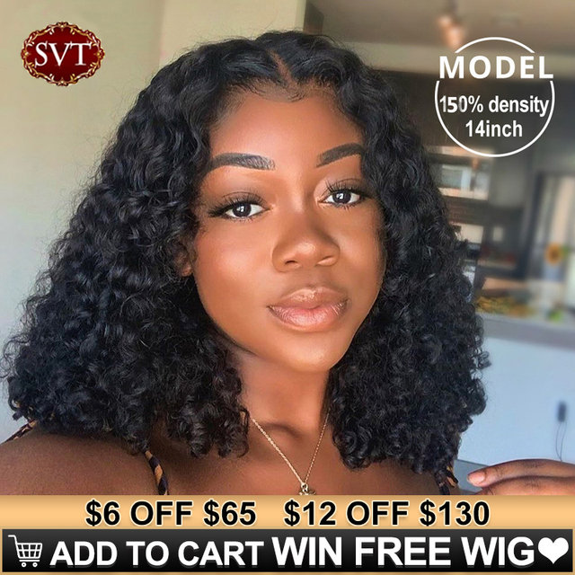 Brazilian Deep Wave Human Hair Bob Closure Wig Natural Hairline SVT Remy Hair Short Deep Curly Bob Lace Front Wig With Baby Hair