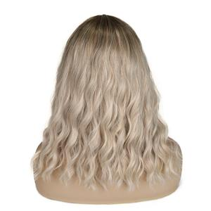 Image 4 - FAVE Short Water Wave Hair Mixed Black Green Heat Resistant Fiber Natural Synthetic Wig For Black/White America Women Cosplay