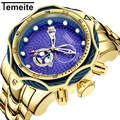 Temeite Роскошные Брендовые мужские часы золотые часы для мужчин большие тяжелые кварцевые часы золотые водонепроницаемые наручные часы Relogio ...