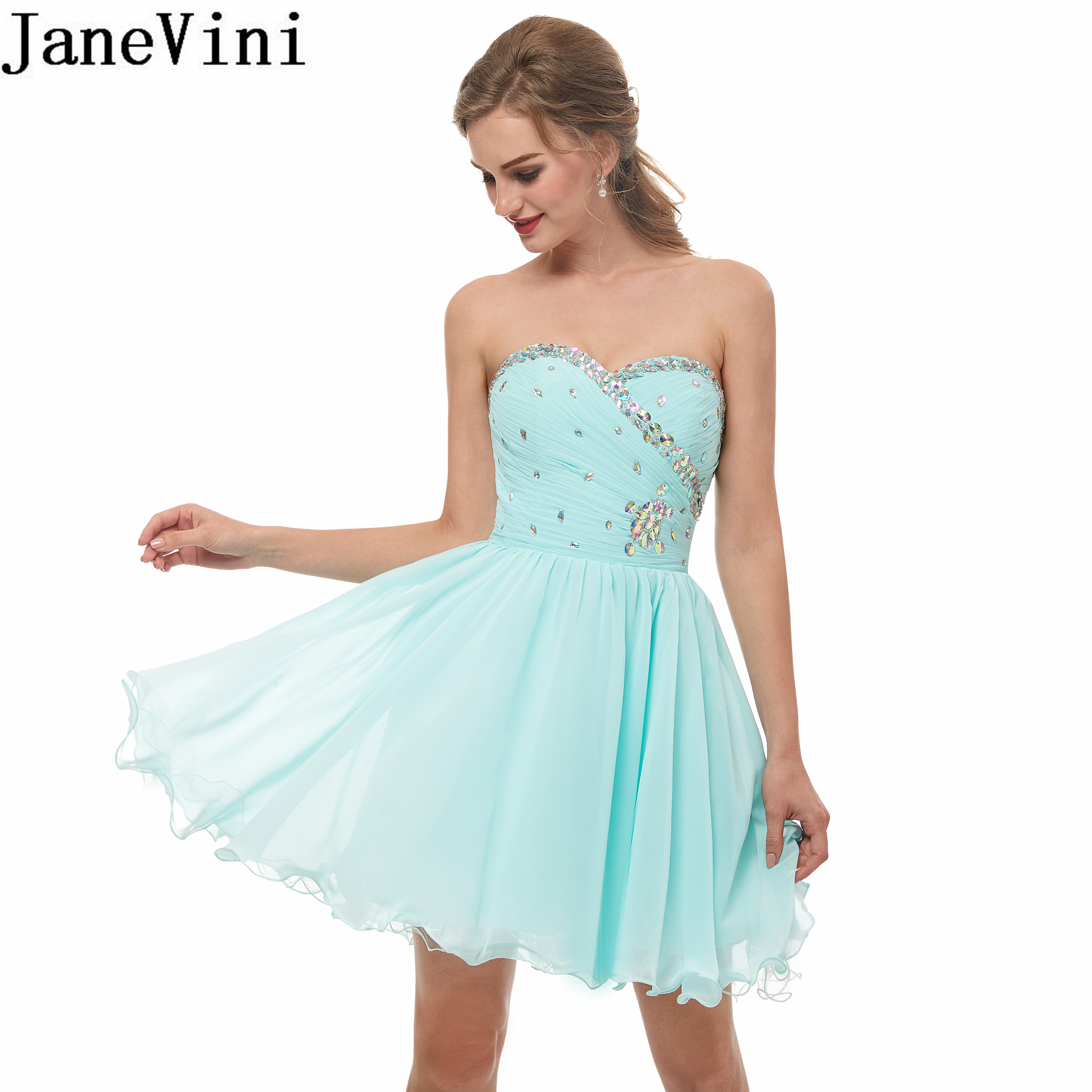 JaneVini robes de bal courtes 2019 mousseline de soie cristal perlé robe de soirée plissé au-dessus du genou robes de soirée robes de gala elegante