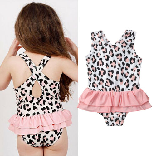 2020 New Toddler Baby Girls Lace Leopard Print Swimsuit Swimwear Bathing Suit Beach Costume One-Pieces