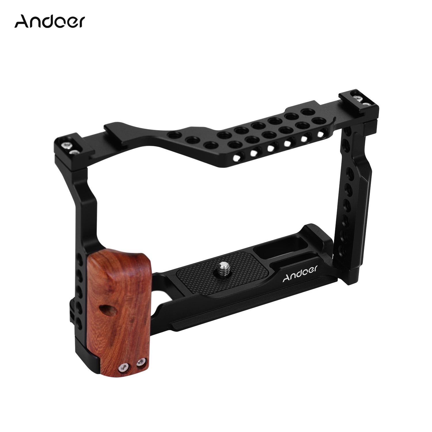 Andoer Camera Cage Aluminum Alloy Photography Video Camera Cage With Dual Cold Shoe Mount Compatible With Fujifilm X-T3/X-T2