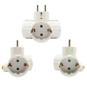 Image 5 - 4.8mm padrão da ue adaptador de alimentação soquete din plug 1 a 3 soquete com interruptor 16a 250v viagem parede carregador conversor soquete