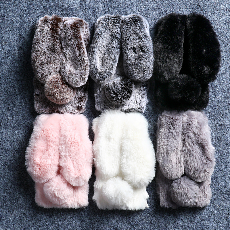 <font><b>Rabbit</b></font> Fur Case for <font><b>Xiaomi</b></font> <font><b>Redmi</b></font> Note 8 7 <font><b>6</b></font> 5A 5 Plus 4X K20 7A 7 6A S2 4 Go Case for <font><b>Xiaomi</b></font> Mi 9 SE 8 A2 Lite Mix 2S Warm Cover image