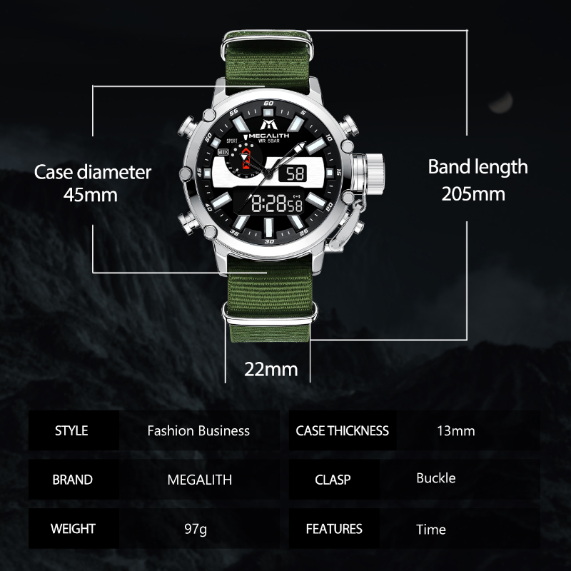 MEGALITH Mens Digtal Watch Dropshipping Sport Military Analog Quartz Multifunction Dual Display Watch with Alarm Stopwatch 8229 6