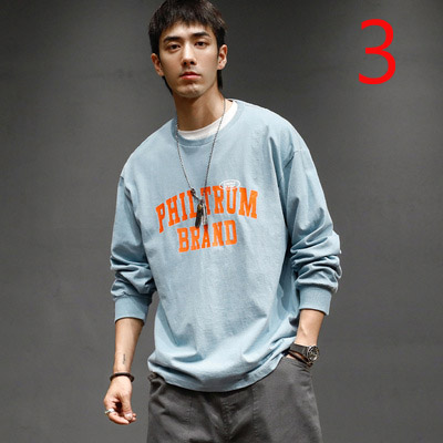 Japanese Retro Long-sleeved T-shirt Trend Korean Print Tee Leisure Port Wind Loose Round Neck