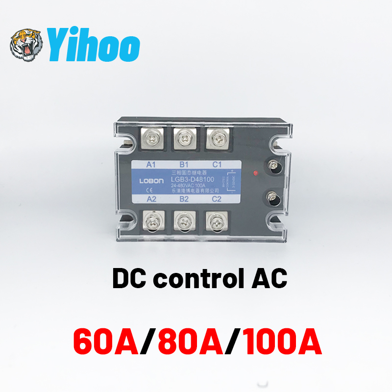 3 Phase 60A 80A <font><b>100A</b></font> DA Three Phase SSR 3-32V <font><b>DC</b></font> Control 24-480V AC Solid State Relay SSR <font><b>DC</b></font> To AC Relay image