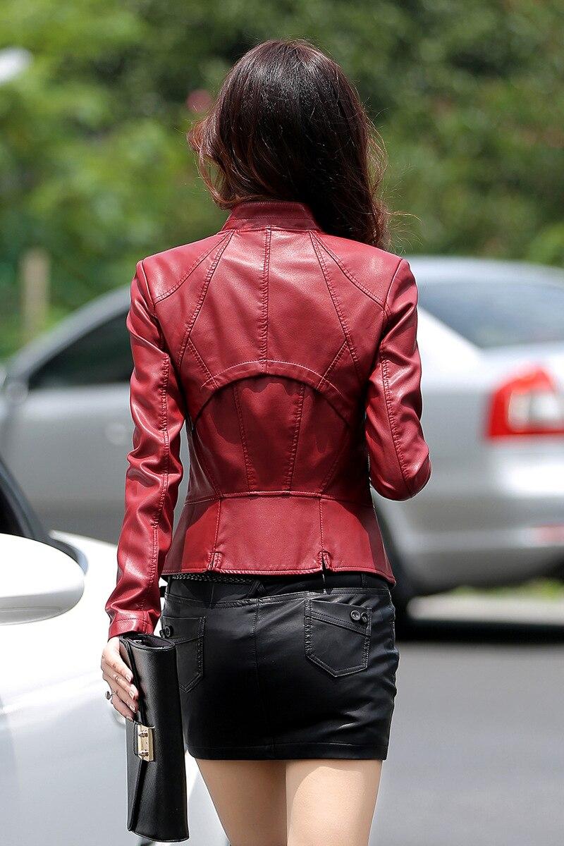 Jaqueta de couro pu feminina casual, casaco
