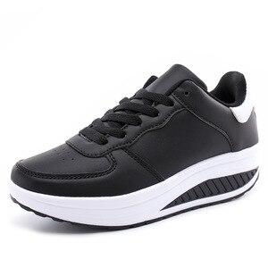 Image 2 - كاوكوم قطرة بيع أحذية نسائية تحلق والنسيج أحذية من الجلد الترفيه الرياضية أسفل هزة أحذية Twinkie أحذية 35 43 CYL 5083