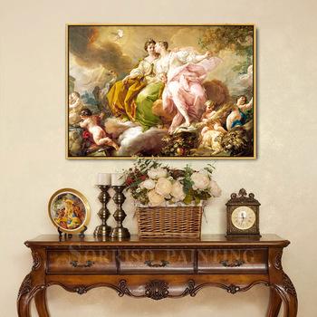 Europa Retro anioł Notre Dame bogini obraz olejny na płótnie salon Wall Art jadalnia drukuje przedpokój zdjęcia dekoracja do domu i do sypialni tanie i dobre opinie sorriso CN (pochodzenie) Wydruki na płótnie Pojedyncze PŁÓTNO Wodoodporny tusz Obraz z postacią Europejska BC0010 Malowanie natryskowe