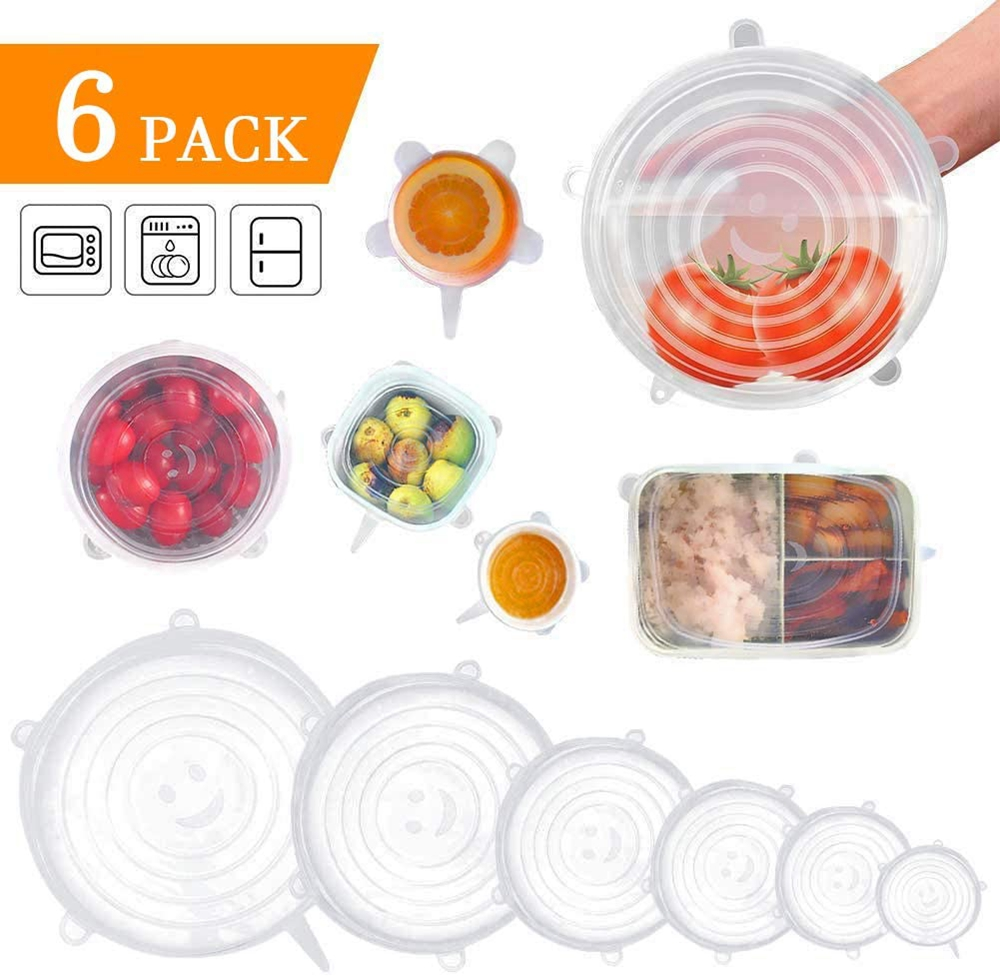 Silicone Stretch Lids Set 6-Pack Of Various Sizes Reusable Durable And Expandable Food Storage Covers Fit Various Size And Shape