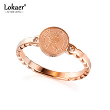 Lokaer Titanium Stainless Steel Retro Style Queen Avatar Ring Jewelry Rose Gold Trendy CZ Crystal Party Rings For Women R19176