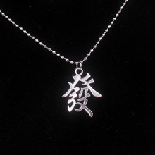 Vintage Chinese Character Pendant Necklace Women Personalized Chain Necklace Men Jewelry Choker Fashion Silver Choker Gifts Men(China)