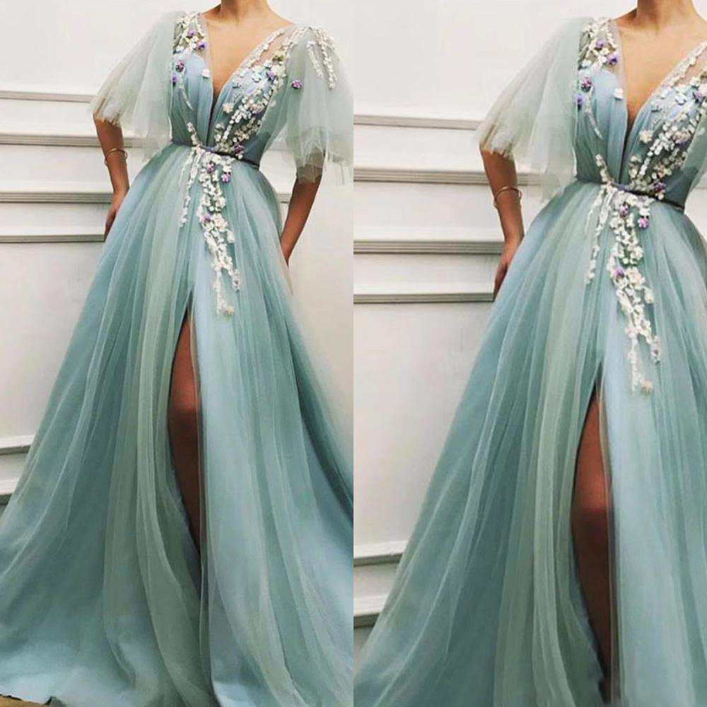 Turquoise Long Evening Dress Sexy High Slit V Neck Tulle Prom Dresses 2019 Applique Flowers Arabic Women Formal Party Gowns