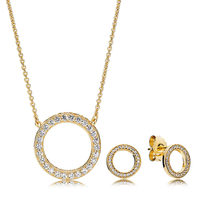 2018 NEW 100% 925 Sterling Silver Shine Gold Forever Necklace and Earring Set Fit European Girl Charm Original DIY Jewelry Gift(China)
