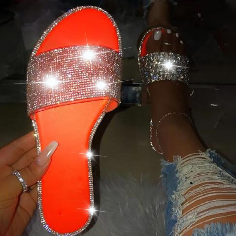 Hot DealsGlitter Slippers Sandals Flip-Flops Flat-Shoes Diamond Bling Candy-Color Female Beach