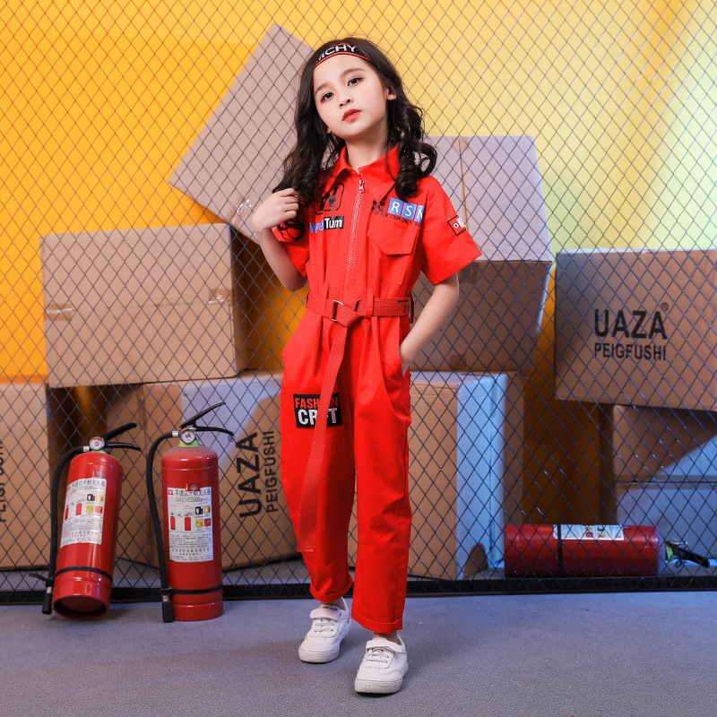 Image 2 - New Kids Clothes Girls Sets Casual Outfit Large Size Turn down collar Tops Jumpsuit Long Pants Waistband Straight Children SetsClothing Sets   -