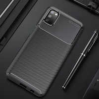 For Samsung S20 Note 10 9 8 S10 S9 Plus A51 A71 A10 A20 A30 A40 A50 A70 A20E A20S Soft Silicone Carbon Fiber TPU Shockproof Case