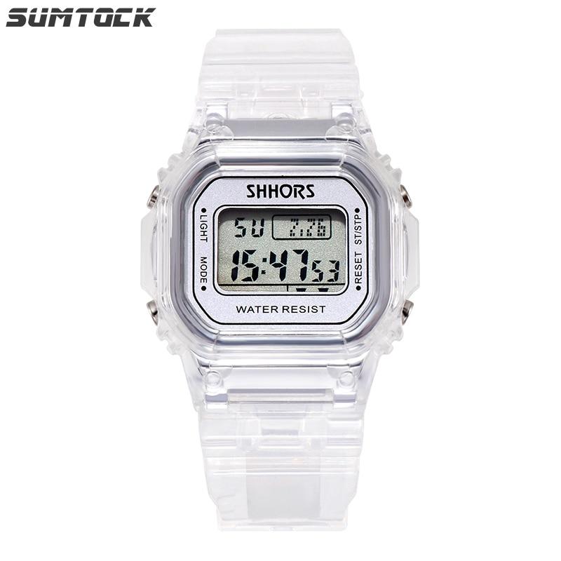 SUMTOCK Transparent Watches For Children Boys Girls Silver Gold Watch For Kids Children Alarm Clock Calendar Timing Watch Gift