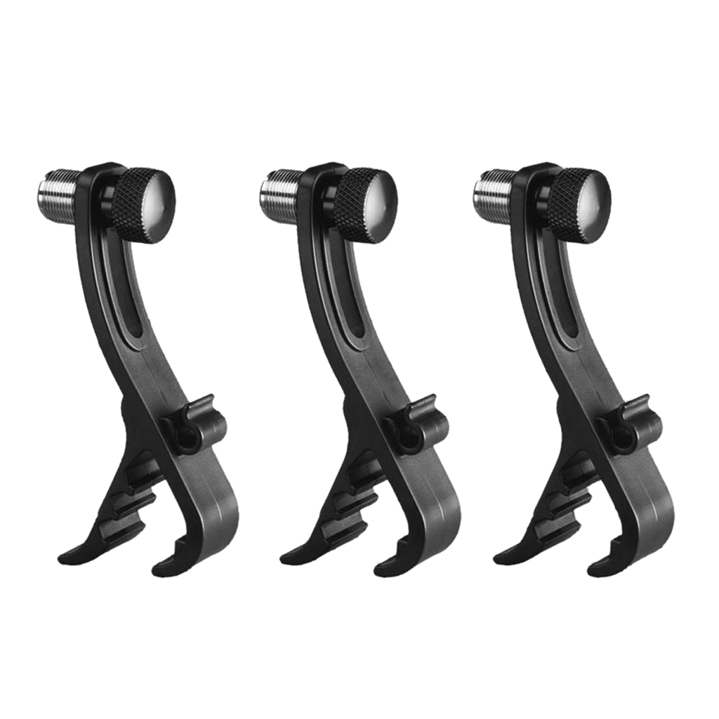 Adjustable Clip On Drum Rim Shockproof Mount Microphone Mic Clamp Stand Holder, Pack of 3