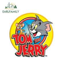 EARLFAMILY 13cm x Tom And Jerry Car Accessories Decal Sticker Polyethylene JDM Door Protector Back To The Future Oem