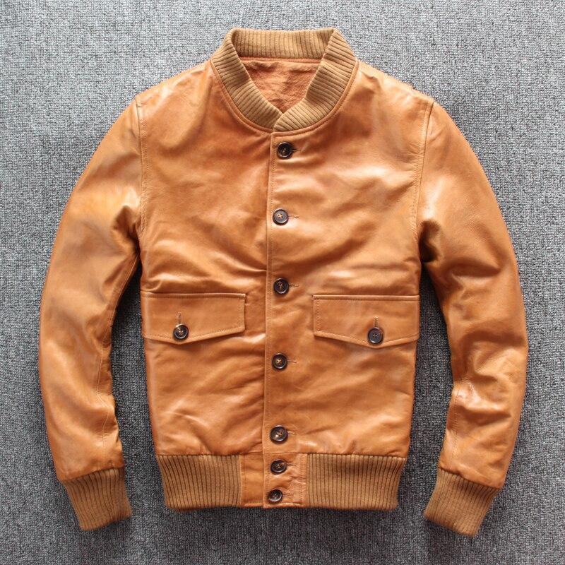 YR!Free Shipping.slim Tanning Sheepskin Coat.2019 New Classic A1 Style Leather Bomber Jacket,mens Flight Genuine Leather Coat,