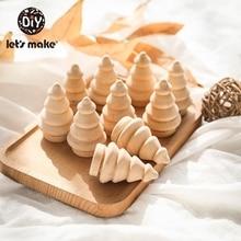Peg Dolls Toys Wooden Custom-Logo Baby Cone Snowman Unpainted Christmas-Tree Pine Family