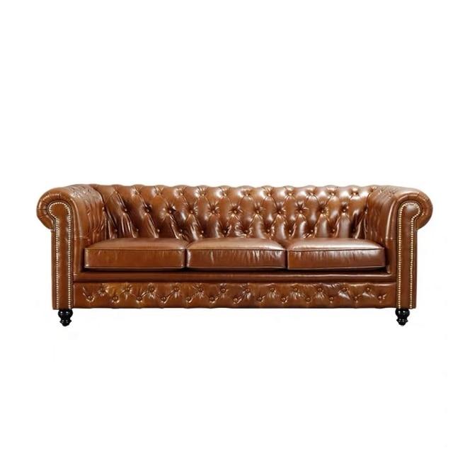 U-BEST European Home Furniture Sofa Set Living Room Chesterfield Leather Sofa 4