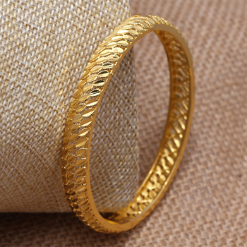 24K Dubai India Ethiopian Jewelry Bangles For Women Man Jewelry Girl Gold flower African Bridal Bangle best gift women