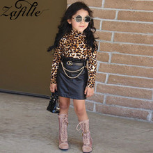 ZAFILLE Fashionable Baby Girl Clothes Long Sleeve Leopard Top+Skirt Toddler Suits 2Pcs Kids Clothes Girls Clothing Outfits Sets a girl's two piece suit fashion streetwear leopard print long sleeve hooded top and short skirt girls clothing set toddler suits