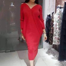 V-Neck Solid Pencil Slim Dress Women Autumn 2019 Office Lady Elegant Bodycon Basics Plus Size Retro Party Long Dresses 6 Colors