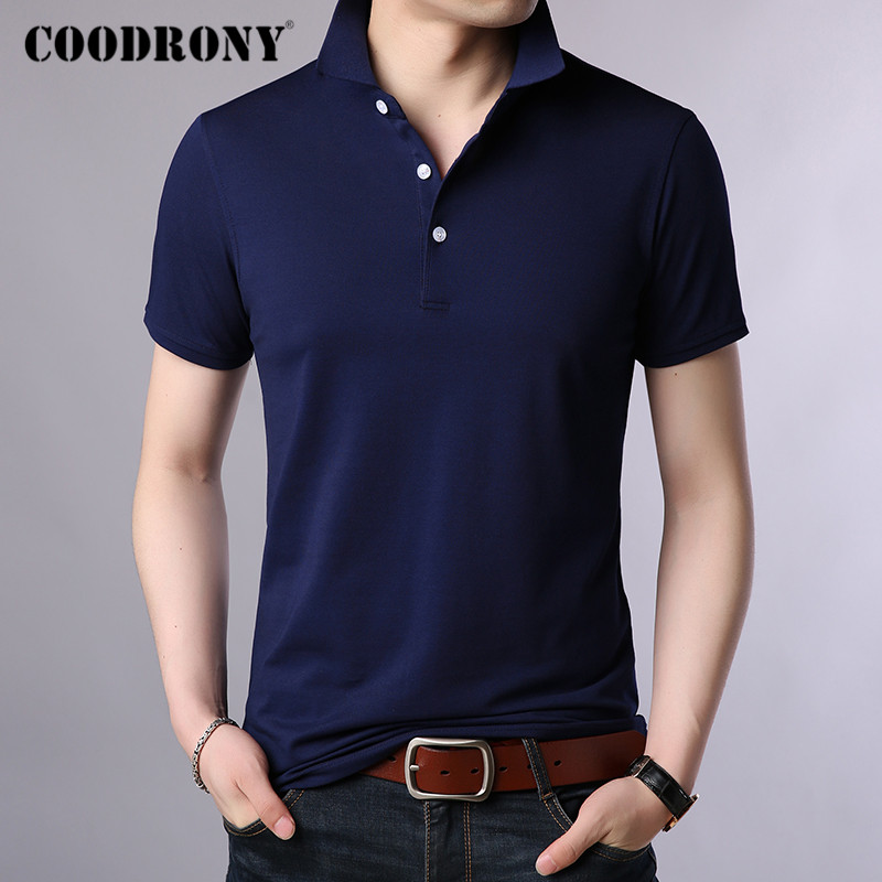 COODRONY Summer Short Sleeve T Shirt Men Pure Color Casual Turn-down Collar T-Shirt Men Clothes Cotton Tee Shirt Homme C5020S