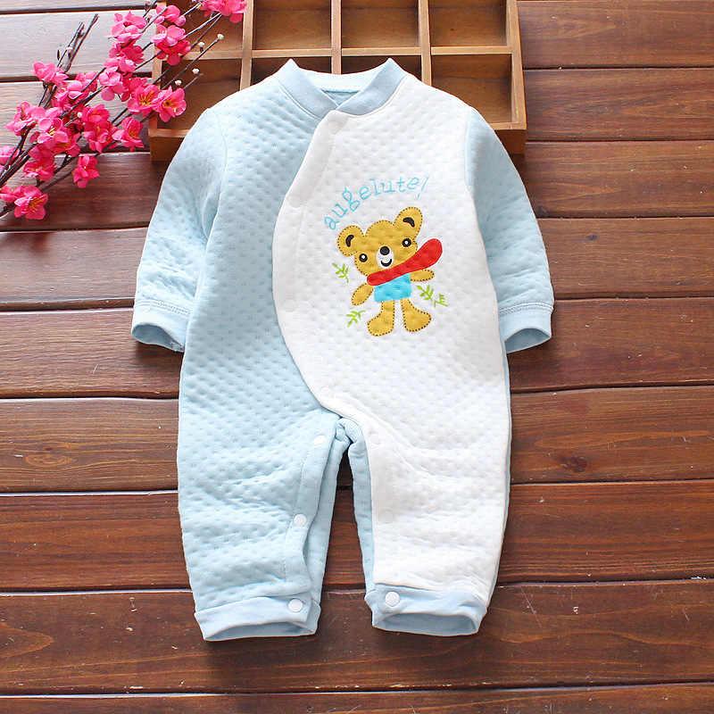 Детские комбинезоны; Милая зимняя одежда для маленьких девочек с героями мультфильмов; Одежда для новорожденных; плотная теплая одежда для маленьких мальчиков; Roupas Bebe; Комбинезоны для младенцев
