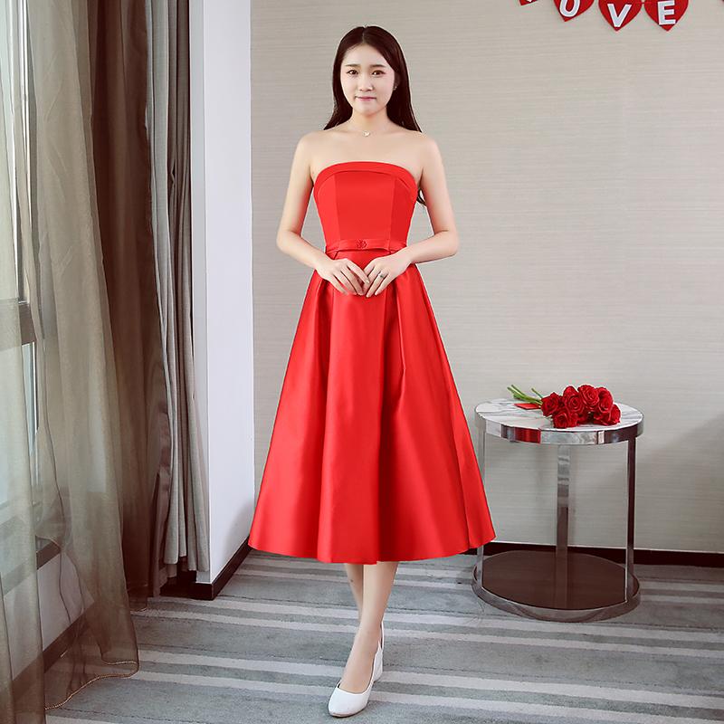 A-Line Taffeta Tea-Length Burgundy Bridesmaid Dresses Elegant Wedding Party Dress Sexy Prom Wedding Guest Dress Vestidos Empire