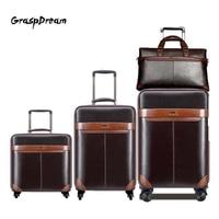 GraspDream Männer Business Rolling Gepäck Set Luxus 20/24 zoll Retro Rad Koffer mit handtasche Trolley passwort Reisetasche