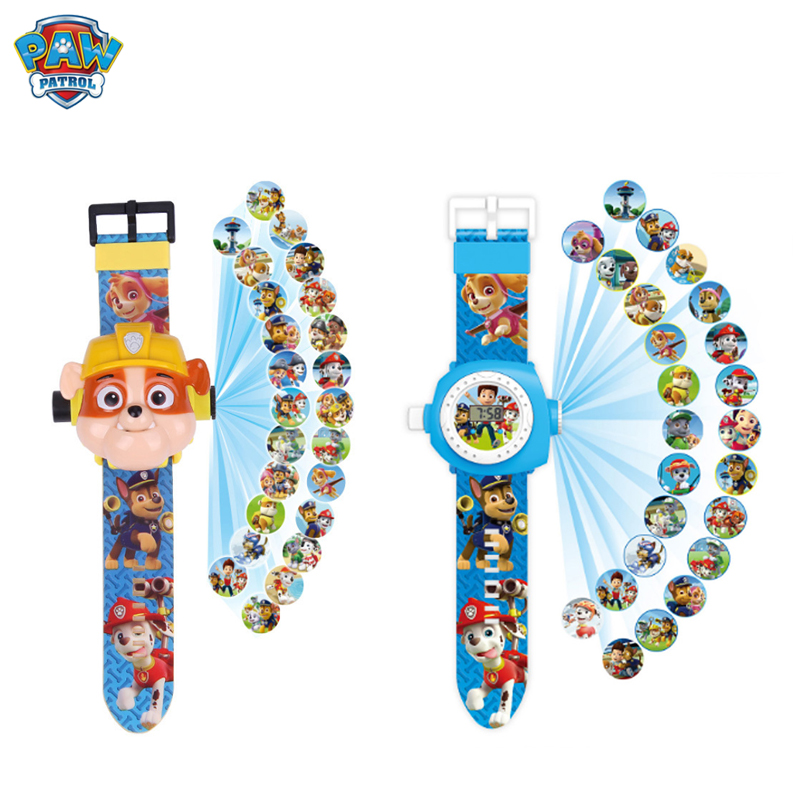 Paw Patrol Toy Digital Watch Projection 24 Style Cartoon Patterns Time Clock Marshall Zuma Action Patrulla Canina Christmas Toy