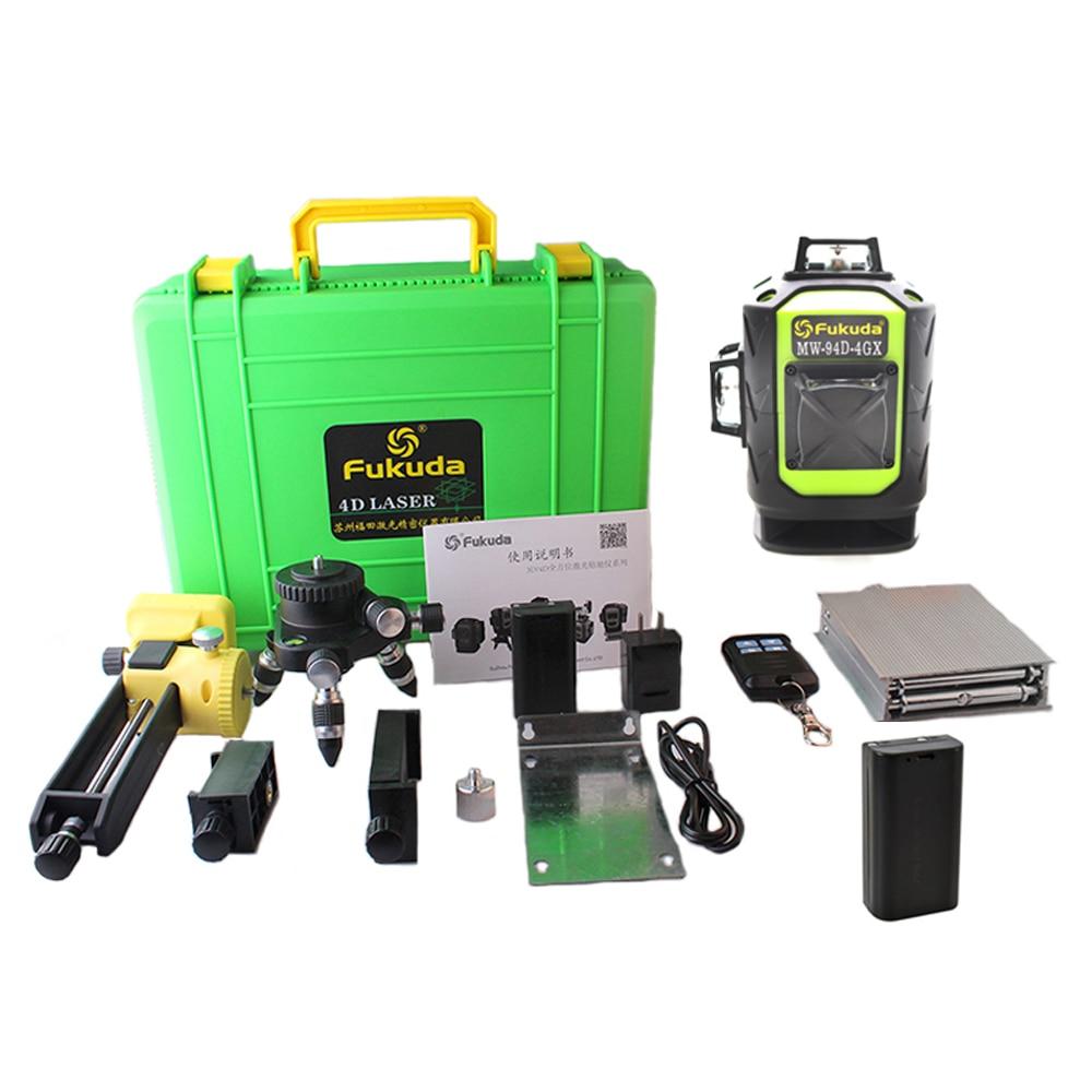 2 batterie Fukuda Professionelle 16 Linie 4D laser ebene Sharp grün 515NM Strahl 360 Vertikale Und Horizontale Selbst nivellierung kreuz